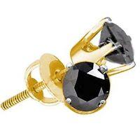 0.50ctw Black Diamond Round Stud Earrings 10K Yellow Gold