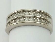 Beautiful 10K Karat Solid White Gold Designer Ring Band W/ Cluster of Diamonds