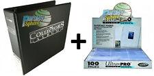 Ultra Pro Classeur Anneaux Noir + 100 Pages Range Cartes Pokemon Yu-Gi-Oh!  Neuf