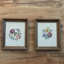 Vintage Roses and Flowers Finished Needlepoint Under Glass Wood Framed Art