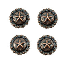 "Set of 4 WESTERN HORSE SADDLE TACK 1-1/2"" COPPER STAR BERRY CONCHOS screw back"