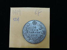 1919 50 Cent Coin Canada King George V Fifty Cents .925 Silver EF Condition