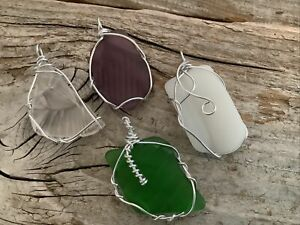 Four Pieces Wire Wrapped Pattern Seaglass Pendants Silver boho Beach Aluminum