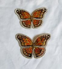 2 Butterfly Iron On Patch Gold Iridescent with Rhinestones *US SELLER*