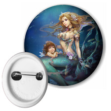 Mermaid Mother And Daughter Button Pin Badge 50mm