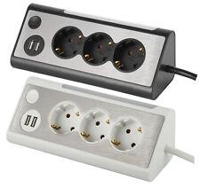 Steckdosenleiste 3-fach Edelstahl-Optik Mehrfachsteckdose USB LED Ecke Tisch