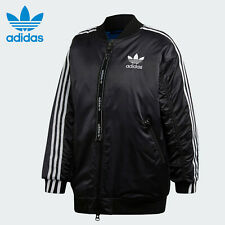 Adidas Women's Originals Long Bomber Jacket Black ED7600 Size XL
