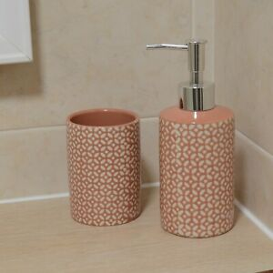 Set of Ceramic Soap Dispenser and Tooth Brush Tumbler Toilet Storage Holder