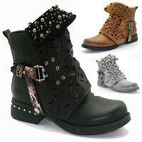 Womens Zipper Leather Combat Biker Boots Flats Low Heel Buckle Shoes Ankle Boots