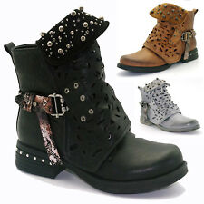 Womens Hollow Carved Studded Ankle Boots Ladies Goth Zipper Martin Shoes Flats