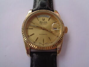 Bulova Super Seville Mens Watch Day & Date Calendar Automatic GoldPlated Leather