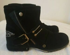 OTTO ZONE Replay Style Black Suede Leather Ankle Moto Boots Size 8.5