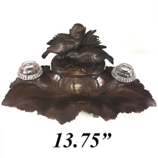 """Antique Black Forest Carved Double Inkwell, Desk Stand, Box, 13.5"""" with 2 Birds"""