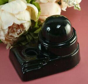 Vintage Ceramic Sengbusch Inkwell and Pen Glass Jar Lid Holder