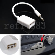 1PC White 3.5mm MP Male AUX Audio Plug Jack To USB 2.0 Converter Cord Cable Car