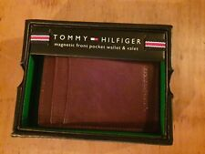 TOMMY HILFIGER Leather Tan Magnetic Front Pocket Passcase Wallet BNWT RRP £55