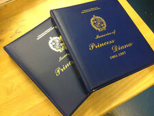 Memories of Princess Diana 2 Blue and Gold 3 Ring Binders by Kenmore  |