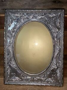 """Vintage Heavy Silver Plated 9.5"""" Oval Picture Frame Repousse Fits 5"""" by 7"""""""