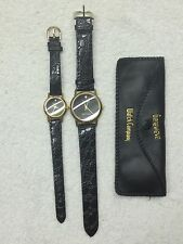 NEW his & hers Men's Women's  Genevieve diamond wrist watch black leather band