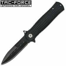 """Couteau Spring Assist Knife Double Edge Look All Black 4.5"""" (11.43 cm) closed"""