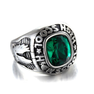 Men Women High School Ring Stainless Steel Eagle Green CZ Vintage Punk Cool Ring