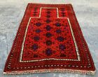 Authentic Hand Knotted Afghan Balouch Prayer Wool Area Rug 4 x 3 Ft (20720 HMN)