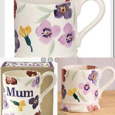 2 x Boxed Emma Bridgewater Wallflower Half Pint Mum  Mother's Day flower purple