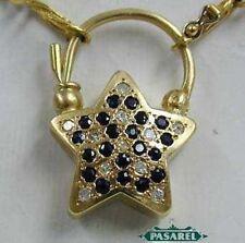 14k Yellow Gold Sapphire & Diamond Star Pendant 0.3ct