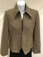 Linda Allard Ellen Tracy Silk Wool Jacket Blazer - Brown Beige Size 0P