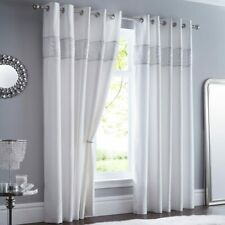 """White Glitzy Shimmer Sequin Detail 90"""" Wide x 90"""" Drop Eyelet Ring Top Curtains"""