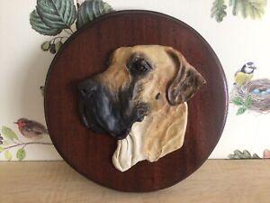 BEAUTIFUL RONNIE JONES 3D SCULPTURE OF A FAWN GREAT DANE DOG HEAD DATED 1997