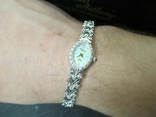 Michael Anthony 14 KT white gold swiss quartz sapphire crown ladies watch w/box