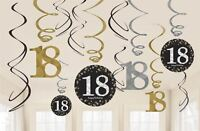 12 x 18th Birthday Party Hanging Swirls Black Gold Celebration Decoration Age 18