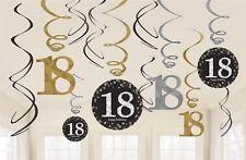 12 X 18 Fête Anniversaire Suspendu Tourbillons Noir or Célébration Décoration