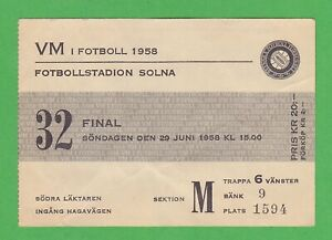 1958 FIFA World Cup ticket #32 Finals Brazil vs Sweden 5-2 Pelé WC goals #5-6