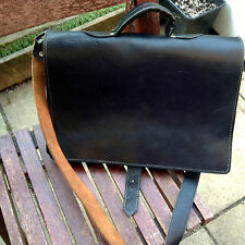 Black Leather Briefcase Hipster Retro Vintage Style Hand Stitched Satchel