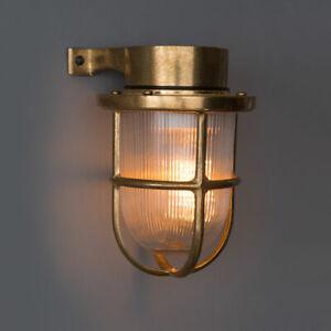 GOLD BULKHEAD LIGHT - Indoor / Outdoor Industrial Wall Light Solid Brass IP64