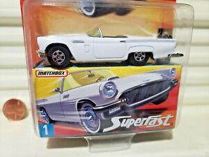Matchbox 2006 Superfast #1 White 1957 Ford Thunderbird Nu in NuBox in C9Bubblpak