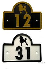 Poodle House Door Number Plaque -Garden Gate Dog Sign (0 to 9999)