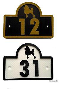 Poodle House Door Number Plaque -Garden Gate Dog Sign (0 to 9999)