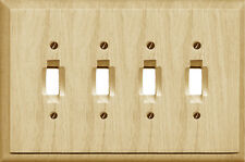 Traditional Unfinished Wood Switchplate / Wallplate, 4-411T4 Four Toggle