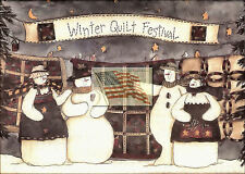 older print WINTER QUILT FESTIVAL with 4 snowmen and hanging quilts as a picture