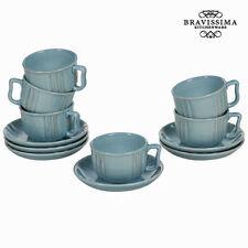 Juego de tazas con platos loza azul (6 PCS) - Colección Kitchen's Deco by Bravis