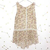 Anthropologie Blouse Size Small Cream Floral Print Crochet Trim Sleeveless Sheer
