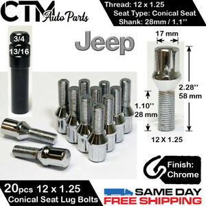 20 JEEP CHROME 12X1.25 WHEEL LUG BOLT CONICAL SEAT FIT CHEROKEE/COMPASS/RENEGADE