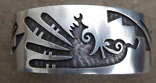 Native American Vintage Hopi Sterling Overlay Bracelet Bird Image
