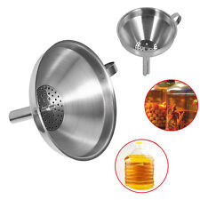 Stainless Steel Oil Wine Funnel Kitchen Tools W/ Detachable Strainer Filter JS