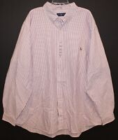 Polo Ralph Lauren Big & Tall Mens Red Striped Oxford Button-Front Shirt NWT 2XB