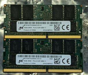 32Gb (2x 16GB) Micron DDR4 PC4-2133P SODIMM Laptop Memory