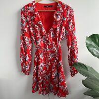 SPORTSGIRL Red Floral Wrap Ruffle Summer Mini Long Sleeve Summer Dress 6 XS